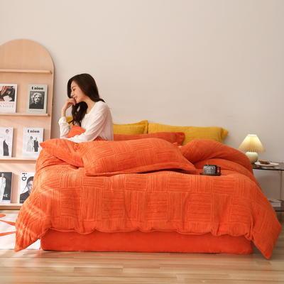 2021新款网红热款立体雕花牛奶绒系列四件套 1.2m床单款三件套 爱马橙