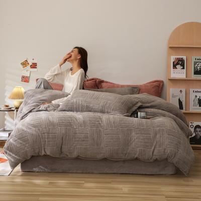 2021新款网红热款立体雕花牛奶绒系列四件套 1.5m床单款四件套 高级灰