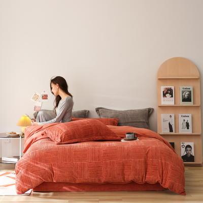 2021新款网红热款立体雕花牛奶绒系列四件套 1.5m床单款四件套 焦糖色