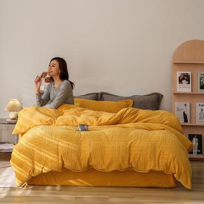 2021新款网红热款立体雕花牛奶绒系列四件套 1.2m床单款三件套 柳黄色
