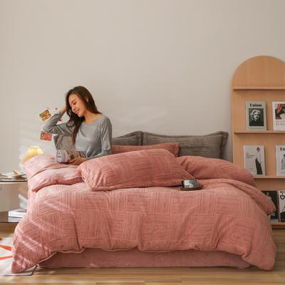 2021新款网红热款立体雕花牛奶绒系列四件套 1.2m床单款三件套 烟粉色