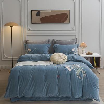 2021新款加厚超暖宝宝绒新中式刺绣四件套 1.8m床单款四件套 沁雅-湖蓝