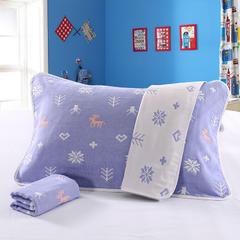 2018新款枕巾(一对) 雪花鹿-紫