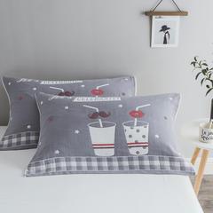 2018新款-四层枕巾 52*78cm/一对 时尚简约-灰