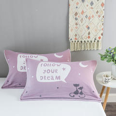2018新款-四层枕巾 52*78cm/一对 望月猫-紫