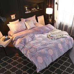 超柔加厚水晶绒四件套 2.0m(6.6英尺)床 紫罗兰-紫