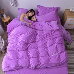2018新款水晶绒绣花四件套 1.8m(6英尺)床 love 紫色