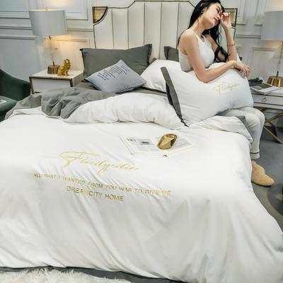 2020新款宽边纯色双拼绣花四件套 1.5m床单款 本白