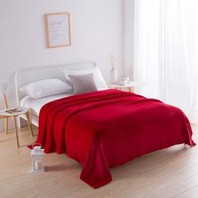 2018新款-220素色法蘭絨毛毯 70*100cm 大紅色