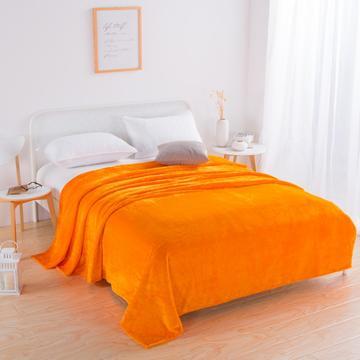 2018新款-220素色法兰绒毛毯 70*100cm 橘黄色