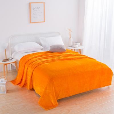 2018新款-220素色法蘭絨毛毯 70*100cm 橘黃色