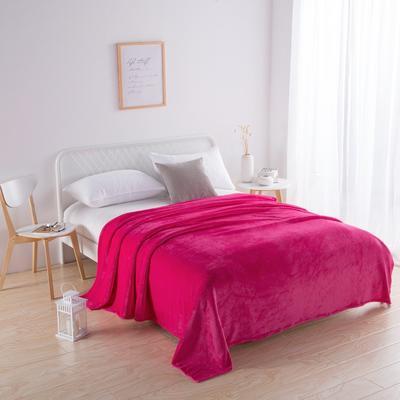 2018新款-220素色法蘭絨毛毯 70*100cm 玫紅色