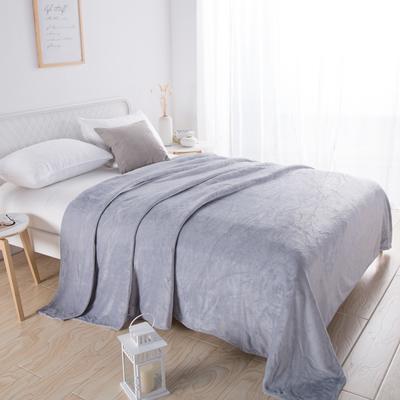 2018新款-220素色法蘭絨毛毯 70*100cm 淺灰色
