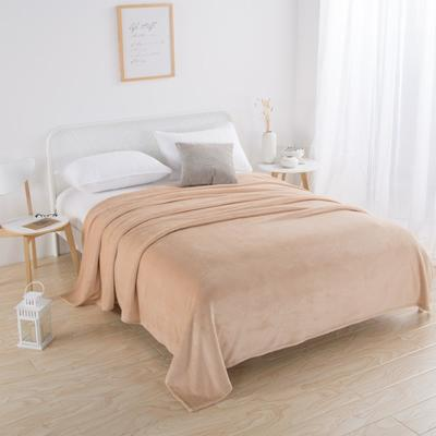2018新款-220素色法蘭絨毛毯 70*100cm 淺駝色