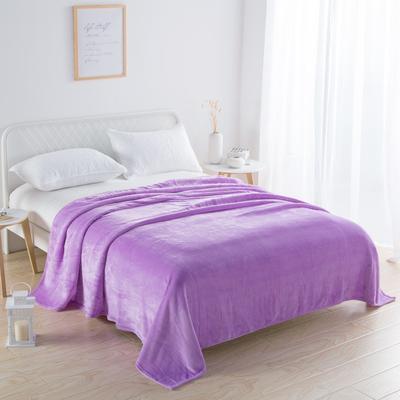 2018新款-220素色法蘭絨毛毯 70*100cm 淺紫色