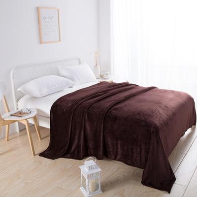 2018新款-220素色法蘭絨毛毯 70*100cm 深咖啡色