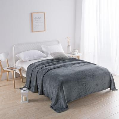 2018新款-220素色法蘭絨毛毯 70*100cm 炭灰色