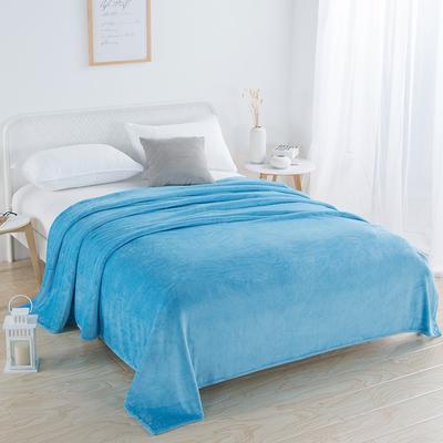 2018新款-220素色法蘭絨毛毯 70*100cm 天藍色