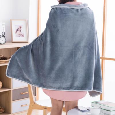 2019新款-多功能披肩毯 选花型0.8*1.2米 银灰色