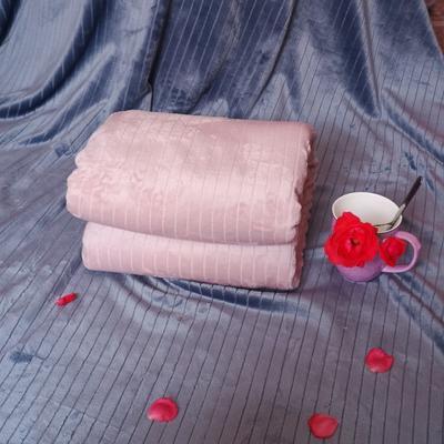 2019新款-限時清倉300克抽條壓花法萊絨毛毯 1.8*2 粉色