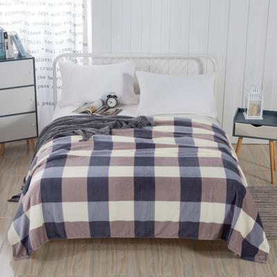 2019新款-230g卷邊毛毯 1.5*2米 無印方格
