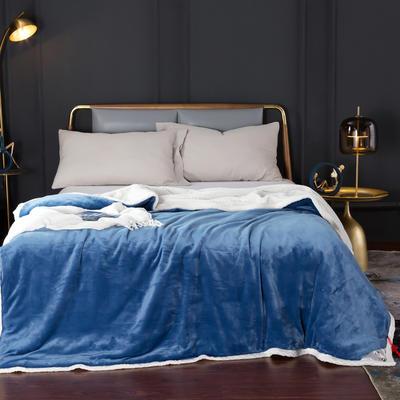 2020新款-双层贝贝绒毯 毛毯款100*130cm 天空蓝