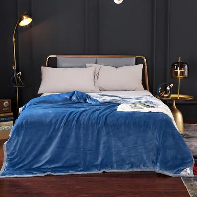 2020新款-双层贝贝绒毯 毛毯款100*130cm 天空蓝+灰