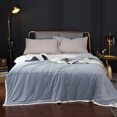2020新款-双层贝贝绒毯 毛毯款100*130cm 条纹珍珠灰+白