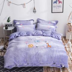 2018毛巾绣法莱绒四件套 1.5m(5英尺)床 动物乐园-紫