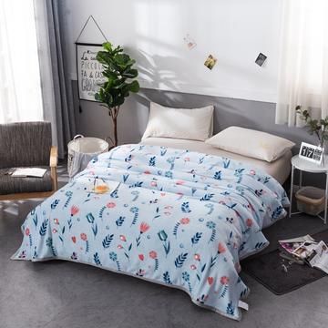 2018新款云貂绒毛毯加厚空调毯法莱绒毛毯带包边送拉链袋 70*100cm(花型随机) 爱恋花-蓝
