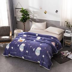 2018新款云貂绒毛毯加厚空调毯法莱绒毛毯带包边送拉链袋 70*100cm(花型随机) 可爱熊-紫