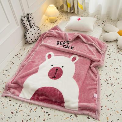 2020新款加厚大版卡通儿童云毯拉舍尔婴儿毯子双层毛毯童毯 105x130cm 乖乖熊