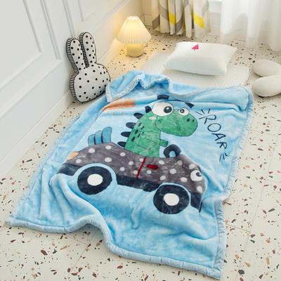 2020新款加厚大版卡通儿童云毯拉舍尔婴儿毯子双层毛毯童毯 105x130cm 恐龙-兰