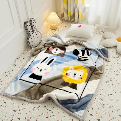 2020新款加厚大版卡通儿童云毯拉舍尔婴儿毯子双层毛毯童毯 105x130cm 萌宠-蓝