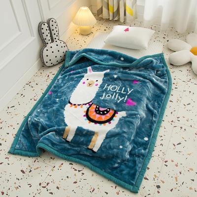 2020新款加厚大版卡通儿童云毯拉舍尔婴儿毯子双层毛毯童毯 105x130cm 咩咩羊