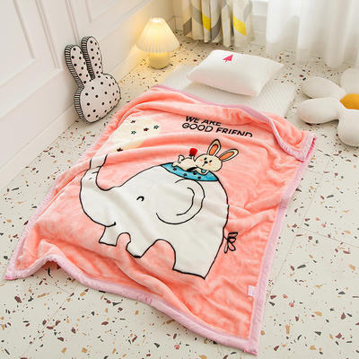 2020新款加厚大版卡通儿童云毯拉舍尔婴儿毯子双层毛毯童毯 105x130cm 皮皮象-粉