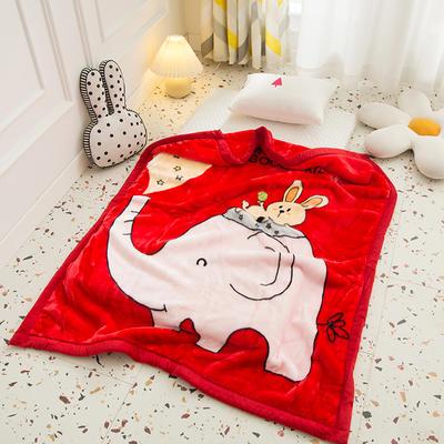 2020新款加厚大版卡通儿童云毯拉舍尔婴儿毯子双层毛毯童毯 105x130cm 皮皮象-红