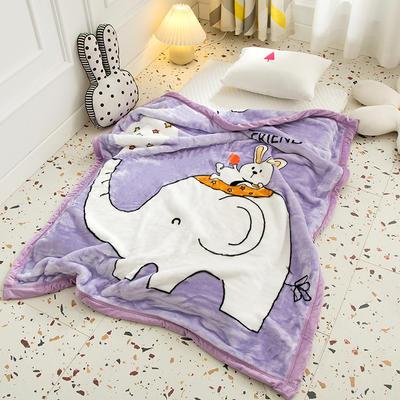 2020新款加厚大版卡通儿童云毯拉舍尔婴儿毯子双层毛毯童毯 105x130cm 皮皮象-紫