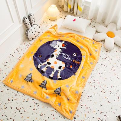 2020新款加厚大版卡通儿童云毯拉舍尔婴儿毯子双层毛毯童毯 105x130cm 长颈鹿-黄