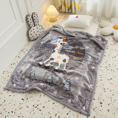 2020新款加厚大版卡通儿童云毯拉舍尔婴儿毯子双层毛毯童毯 105x130cm 长颈鹿-灰