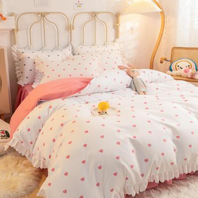 2021新款玛卡龙韩版加厚磨毛公主风床裙四件套 1.5m床裙款四件套 爱心粉