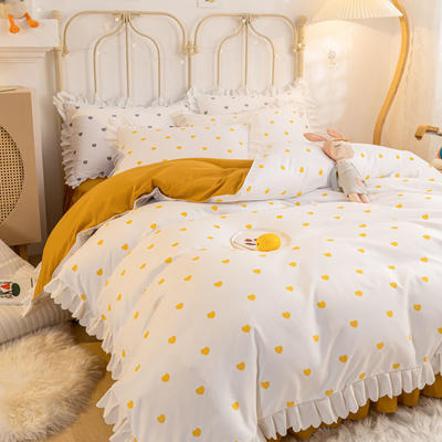 2021新款玛卡龙韩版加厚磨毛公主风床裙四件套 1.5m床裙款四件套 爱心黄