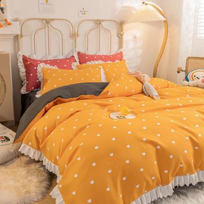 2021新款玛卡龙韩版加厚磨毛公主风床裙四件套 1.5m床裙款四件套 爱心橘