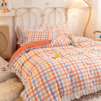 2021新款玛卡龙韩版加厚磨毛公主风床裙四件套 1.5m床裙款四件套 奶油橙