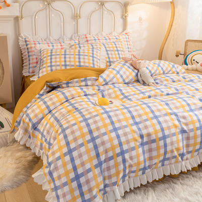 2021新款玛卡龙韩版加厚磨毛公主风床裙四件套 1.5m床裙款四件套 奶油黄