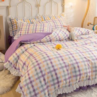 2021新款玛卡龙韩版加厚磨毛公主风床裙四件套 1.5m床裙款四件套 奶油紫