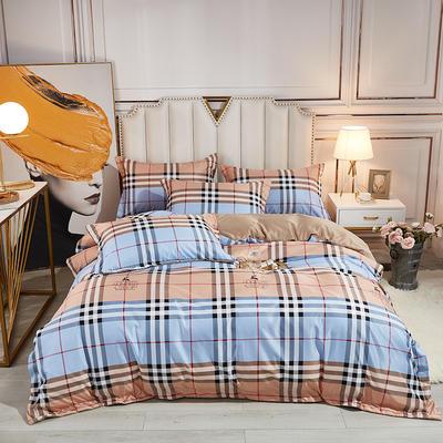 2021新款水洗天丝四件套 1.8m床单款四件套 都市格调-橘