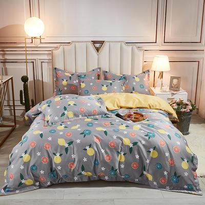 2021新款水洗天丝四件套 1.8m床单款四件套 蜜柚-灰