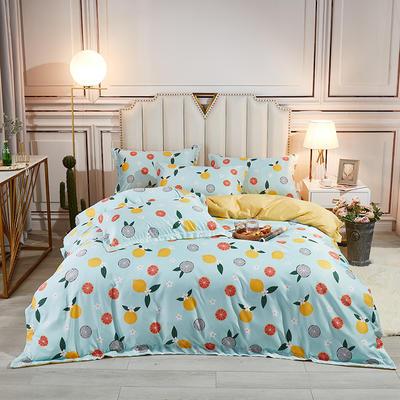 2021新款水洗天丝四件套 1.8m床单款四件套 蜜柚-蓝