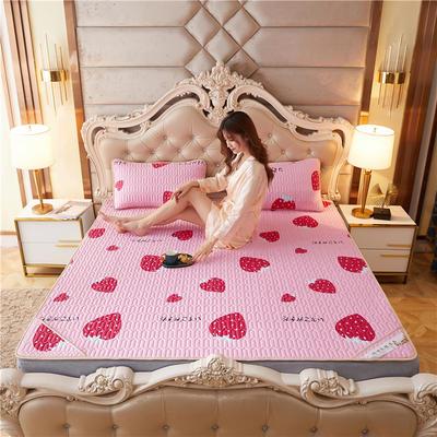 2021新款凉感丝乳胶凉席冰丝凉席三件套(印花) 150*200cm 凉席三件套 草莓粉